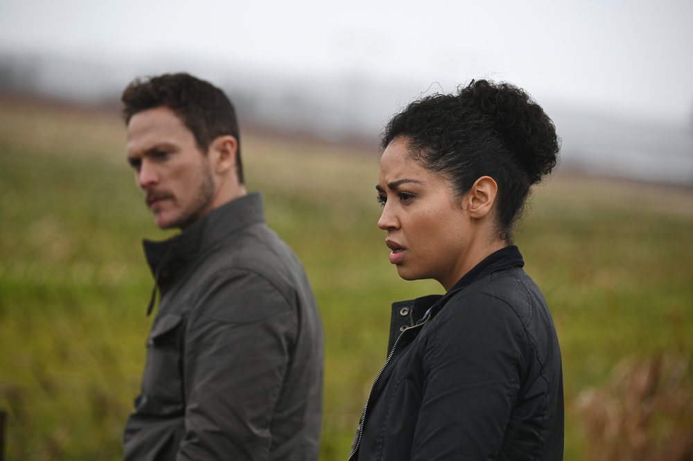 Pictured in the `Debris` pilot, from left: Jonathan Tucker as Bryan Beneventi and Riann Steele as Finola Jones. (NBC photo by Sergei Bachlakov)