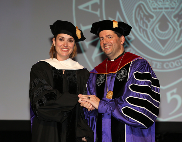 Margaret Brennan, left, was named the new host of `Face the Nation` on CBS. In 2015, the Rev. James J. Maher, C.M., president of Niagara University, presented her with an honorary doctor of humane letters.