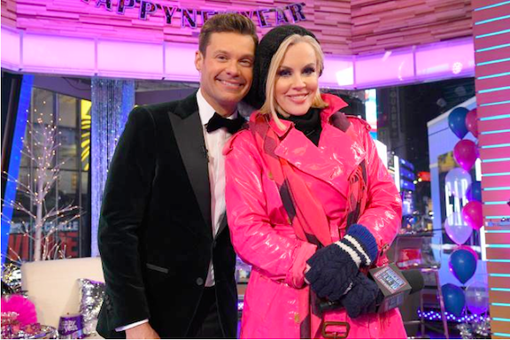 Ryan Seacrest and Jenny McCarthy on ABC's `Dick Clark's New Year's Rockin' Eve with Ryan Seacrest.` (Photo credit: ABC/Lorenzo Bevilaqua)