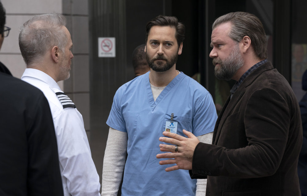 `New Amsterdam` `The New Normal` (episode 301): Pictured, from left, Ryan Eggold as Dr. Max Goodwin and Tyler Labine as Dr. Iggy Frome. (NBC photo by Virginia Sherwood)