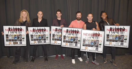 Newsboys: From left: Phil Joel, Peter Furler, Jeff Frankenstein, Jody Davis, Duncan Phillips and Michael Tait were honored for career sales in excess of 10 million units. (Photo courtesy of Turning Point Media)
