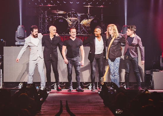 Newsboys United. From left: Jody Davis, Peter Furler, Duncan Phillips, Michael Tait, Phil Joel and Jeff Frankenstein (Photo by Caleb Cook, provided by The Media Collective)