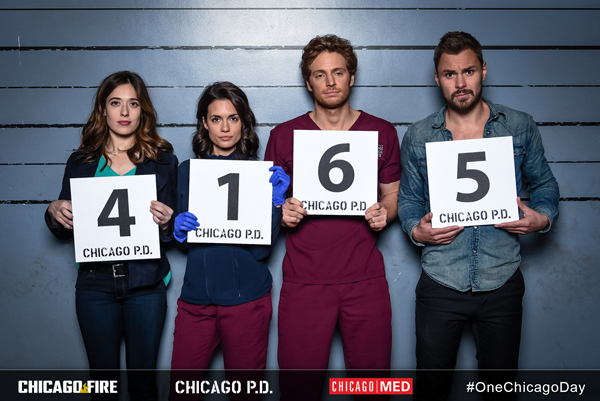 #OneChicagoDay: From left, Marina Squerciati (`Chicago P.D.`), Torrey Devitto (`Chicago Med),` Nick Gehlfuss (`Chicago Med`) and Patrick John Flueger (`Chicago P.D.`) at Lagunitas Brewing Company in Chicago. (NBC photo by Elizabeth Sisson)