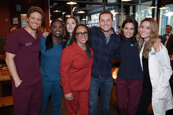The stars of #OneChicago: Nick Gehlfuss, Marlyne Barrett, `Chicago Med`; Marina Squerciati, `Chicago P.D.`; S. Epatha Merkerson, `Chicago Med`; Jesse Lee Soffer, `Chicago P.D.`; Torrey Devitto, Norma Kuhling, `Chicago Med` (NBC photo by Parish Lewis)