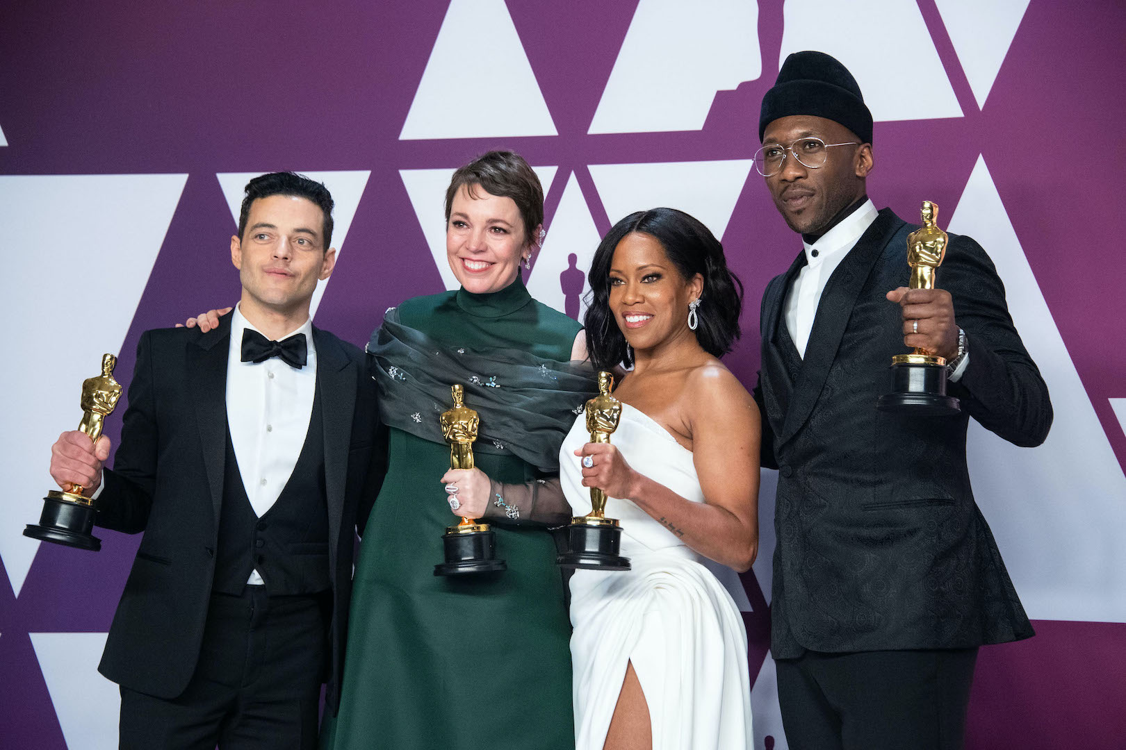 Oscar winners Mahershala Ali, Olivia Colman, Regina King and Rami Malek will present at the 92nd Oscars. The Academy Awards will air live Sunday, Feb. 9, on ABC. (Photo by Mike Baker/©A.M.P.A.S.)
