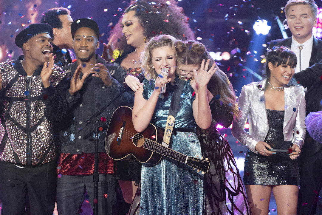 Maddie Poppe, center, upon winning `American Idol` last season. (ABC photo by Eric McCandless)