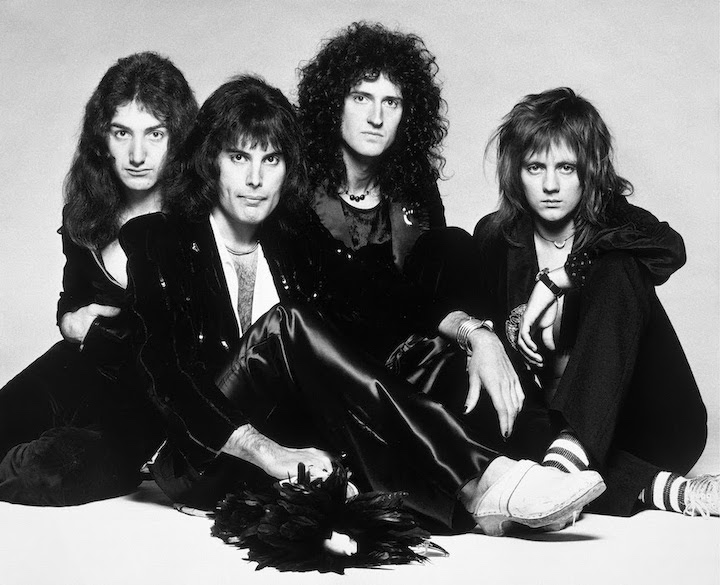 Queen (Credit: Photographer Terry O'Neill. Copyright Queen Productions Ltd. 1975; taken from original `Bohemian Rhapsody` session; image provided by Universal Music Group)