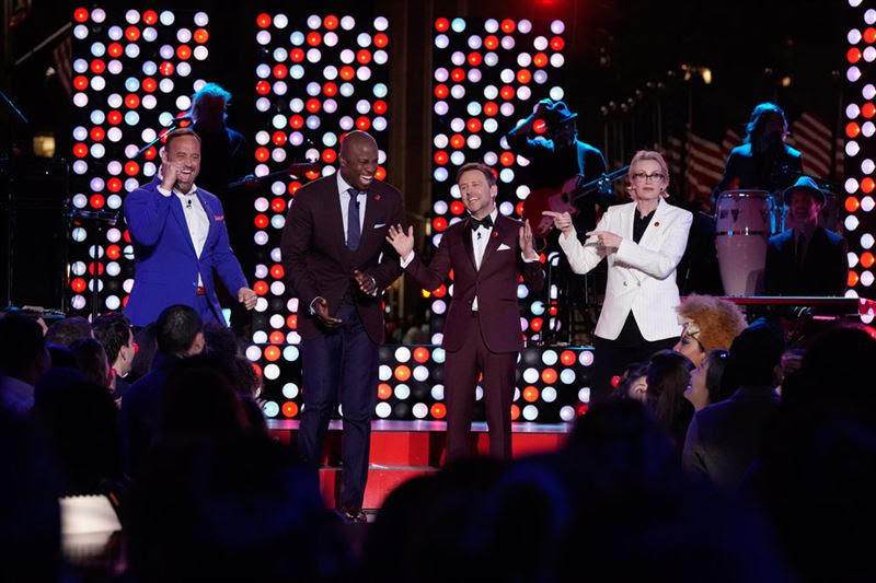 From left, on Red Nose Day: Matt Iseman, Akbar Gbajabiamila, Chris Hardwick and Jane Lynch. (NBC photo)