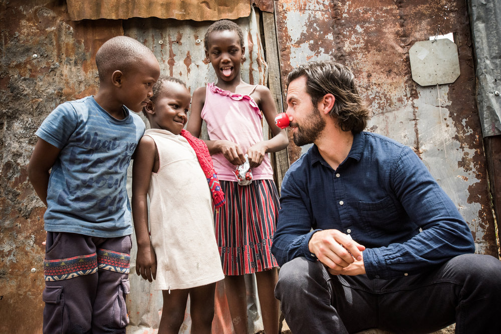`The Red Nose Day Special`: `This Is Us` star Milo Ventimiglia is pictured in Kenya Visiting Red Nose Day-funded programs on April 24. (NBC photo by Mia Collis/Comic Relief Inc.)