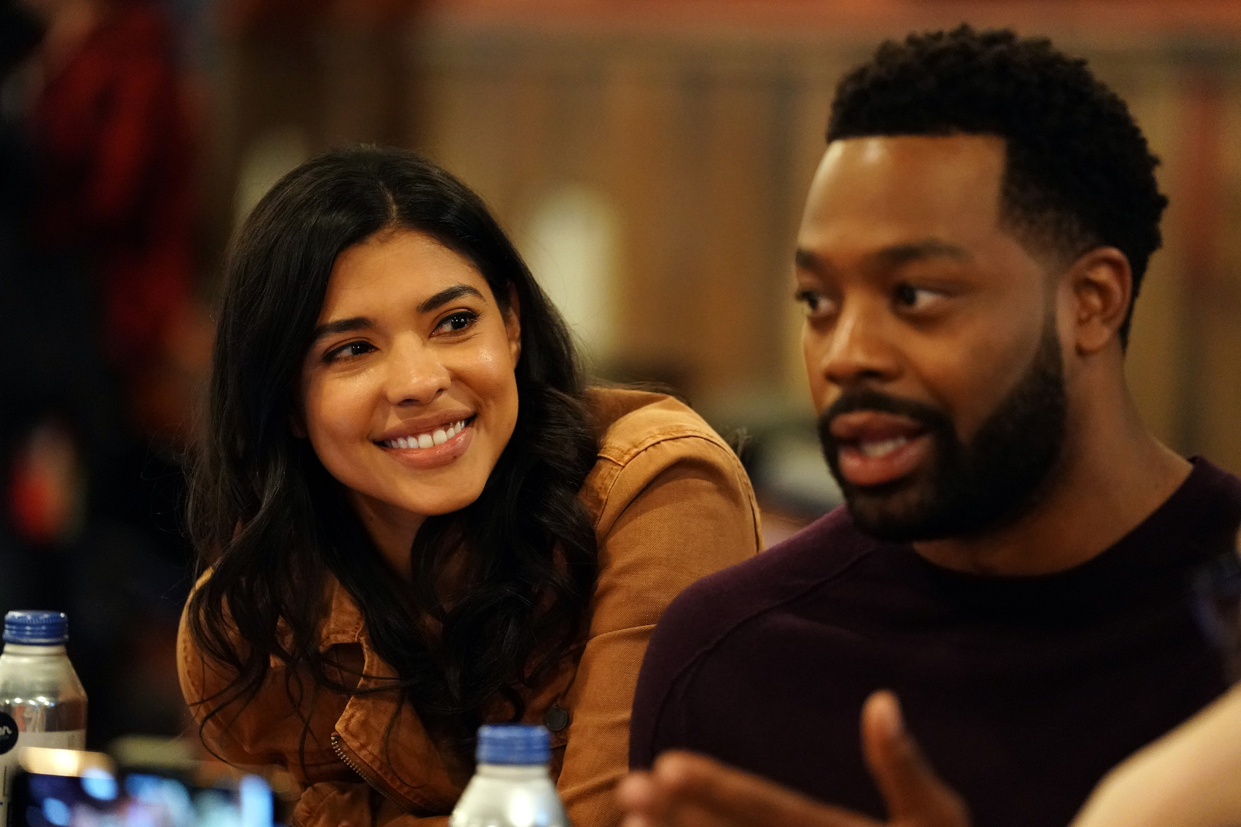 Lisseth Chavez and LaRoyce Hawkins of `Chicago P.D.` at `One Chicago Day` at Lagunitas Brewing Company in Chicago. (NBC photo by Elizabeth Morris)