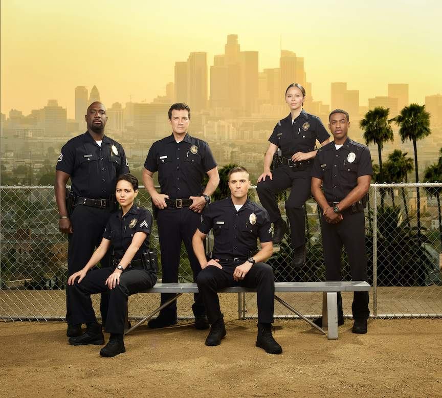 `The Rookie` returns for season two on ABC. It stars Richard T. Jones as Sgt. Wade Grey, Alyssa Diaz as Angela Lopez, Nathan Fillion as John Nolan, Eric Winter as Tim Bradford, Melissa O'Neil as Lucy Chen and Titus Makin Jr. as Jackson West. (ABC photo by Andrew Eccles)