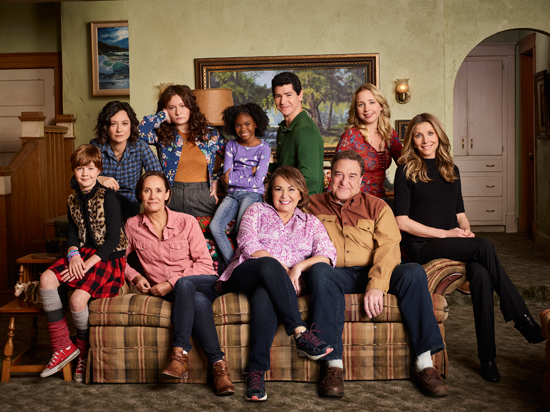 ABC's `Roseanne` stars Ames McNamara as Mark, Sara Gilbert as Darlene Conner, Laurie Metcalf as Jackie Harris, Emma Kenney as Harris Conner, Jayden Rey as Mary, Roseanne Barr as Roseanne Conner, Michael Fishman as D.J. Conner, John Goodman as Dan Conner, Lecy Goranson as Becky Conner and Sarah Chalke as Andrea. (ABC photo by Robert Trachtenberg)
