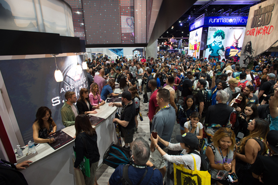 Fans lined up for the `Marvel's Agents of S.H.I.E.L.D.` autograph booth. Pictured, from left, are Ming-Na Wen, Iain De Caestecker, Elizabeth Henstridge, Chloe Bennet and Natalia Cordova-Buckley. (ABC photo by Matt Petit)