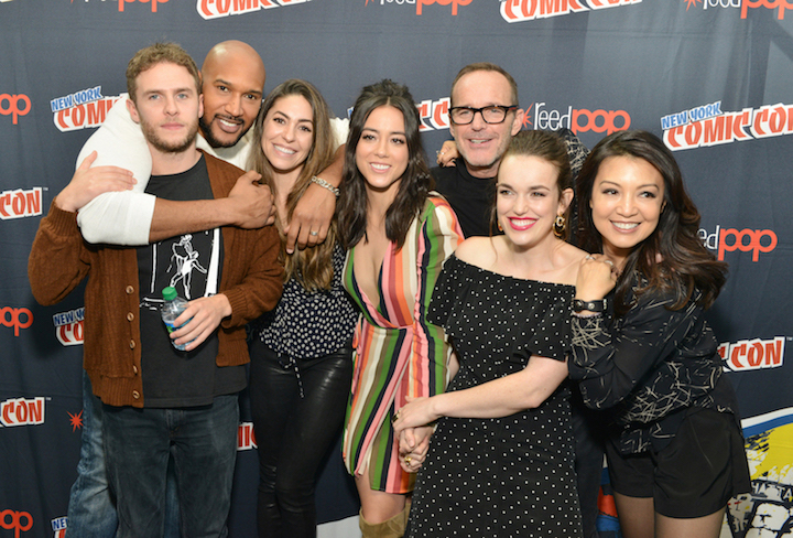 `Marvel's Agents of S.H.I.E.L.D.` - The cast of Marvel's Agents of `S.H.I.E.L.D.` at Jacob Javits Center for New York Comic Con. Pictured are Iain De Caestecker, Henry Simmons, Natalia Cordova-Buckley, Chloe Bennet, Clark Gregg, Elizabeth Henstridge and Ming-Na Wen. (ABC photo by Pawel Kaminski)