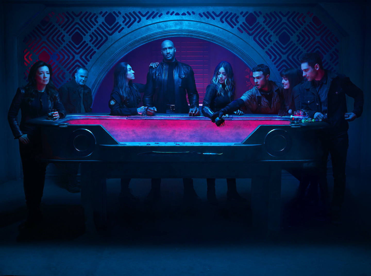 `Marvel's Agents of S.H.I.E.L.D.` - ABC's `Marvel's Agents of S.H.I.E.L.D.` stars Ming-Na Wen as Agent Melinda May, Clark Gregg as Agent Phil Coulson, Natalia Cordova-Buckley as Elena `Yo-Yo` Rodriguez, Henry Simmons as Director Alphonso `Mack` MacKenzie, Chloe Bennet as Daisy Johnson, Iain De Caestecker as Agent Leo Fitz, Elizabeth Henstridge as Agent Jemma Simmons, and Jeff Ward as Deke Shaw. (ABC photo by Matthias Clamer)