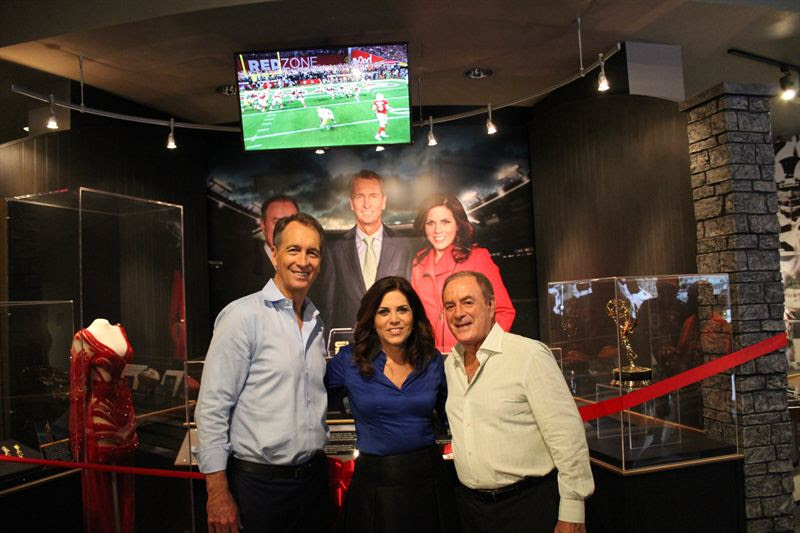 Pictured, from left, are Cris Collinsworth, Michele Tafoya and Al Michaels. (NBC photo)
