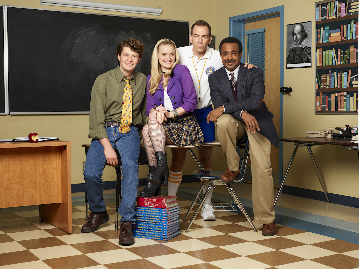 ABC's `Schooled` stars Brett Dier as Charlie Brown, AJ Michalka as Lainey Lewis, Bryan Callen as Coach Mellor, and Tim Meadows as Principal Glascott. (ABC photo by Craig Sjodin)
