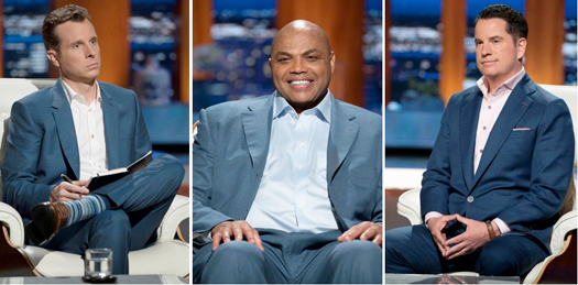 Pictured, from left, are new sharks Matt Higgins, Charles Barkley and Jamie Siminoff. (ABC photo by Eric McCandless)