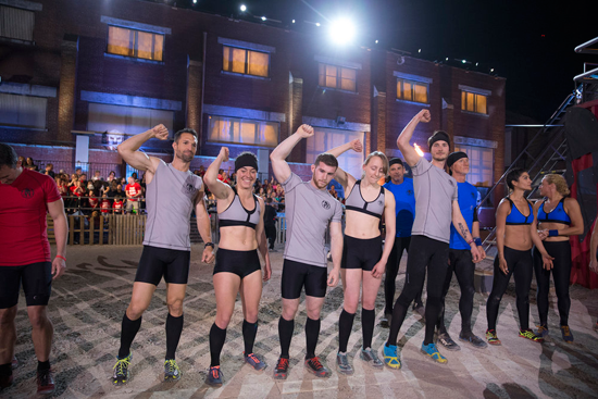 `Spartan: Ultimate Team Challenge`: Pictured, from left: Kyle `Wooch` Graff, Ellen Lutnick, Trevor Bernard, Zoe Herrick of team `The Mathletes`; Tony Peterson of team `Grey Guard`; Chris Komin of team `The Mathletes`; Richie Taylor, Deborah Arrieta, Ramona Haas of team `Grey Guard.` (NBC photo by Mark Hill)