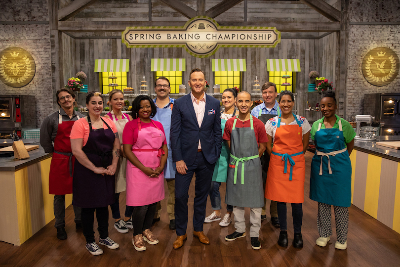 Host Clinton Kelly with the contestants of `Spring Baking Championship.` (Food Network photo)