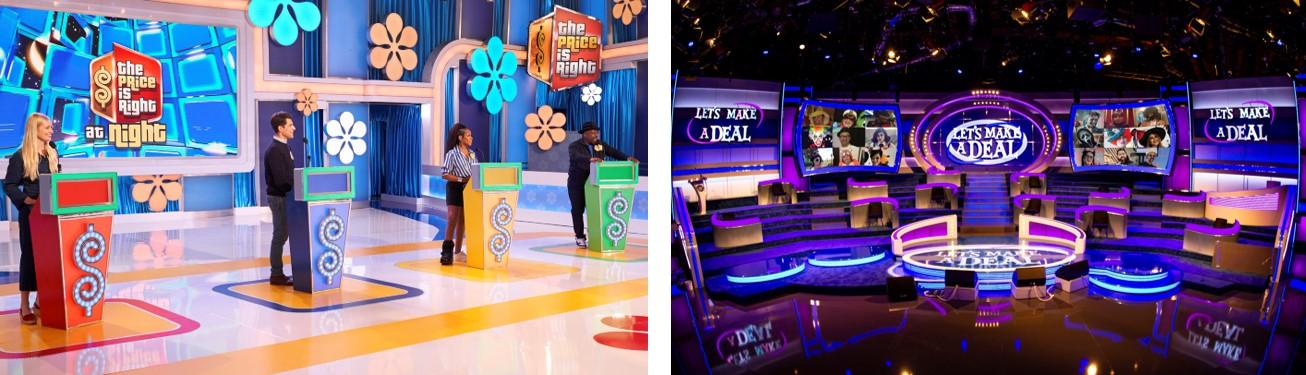 From left, photo one, Beth Behrs, Max Greenfield, Tichina Arnold and Cedric the Entertainer on `The Price Is Right.` The `Let's Make A Deal` set. (CBS photos)