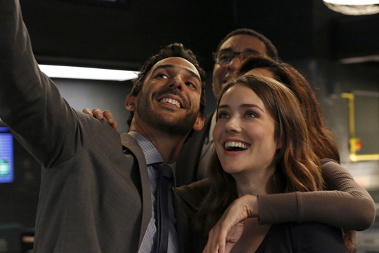 `The Blacklist`: A scene from the upcoming `Miss Rebecca Thrall (No. 76),` episode 503. Pictured, from left: Amir Arison, Harry Lennix, Megan Boone and Mozhan Marnò. (NBC photo by Will Hart)