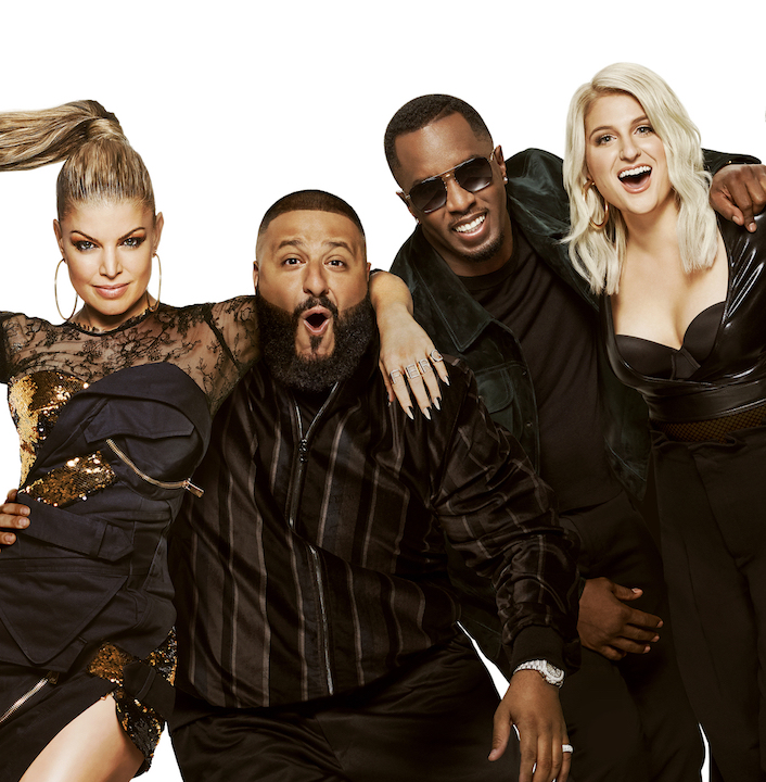 `The Four: Battle For Stardom`: from left: Fergie, DJ Khalid, Sean `Diddy` Combs and Meghan Trainor. (FOX photo by Brian Bowen Smith/©2018 FOX Broadcasting)