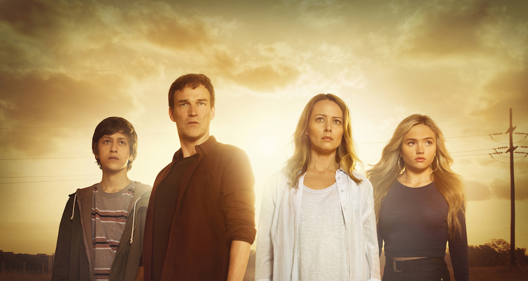 `The Gifted`: Pictured, from left: Percy Hynes White, Stephen Moyer, Amy Acker and Natalie Alyn Lind. (©2017 Fox Broadcasting Co. photo by Frank Ockenfels)