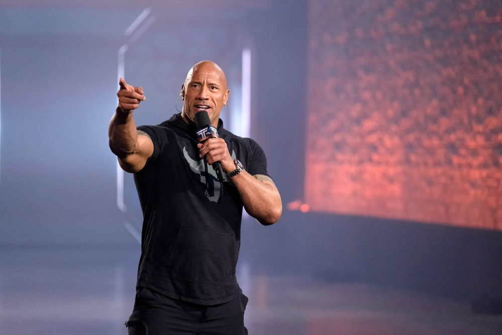 In addition to quarterbacking NBC's `The Titan Games` (as pictured) Dwayne `The Rock` Johnson will be featured in the new series `Young Rock.` (NBC photo by Steve Dietl)