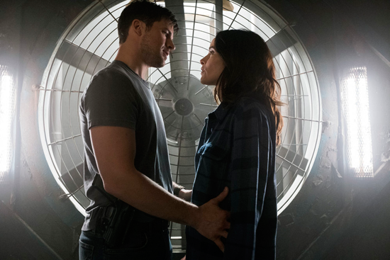 Wyatt (Matt Lanter) and Lucy (Abigail Spencer) get close on the `Timeless` episode `Hollywoodland.` (NBC photo by Justin Lubin)