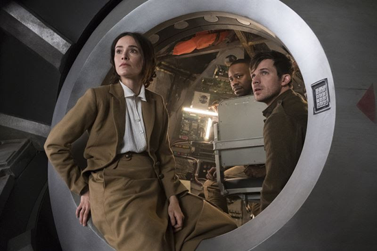 `The War to End All Wars` is the `Timeless` season two debut. Pictured, from left, are Abigail Spencer as Lucy Preston, Malcolm Barrett as Rufus Carlin and Matt Lanter as Wyatt Logan. (NBC photo by Justin Lubin)