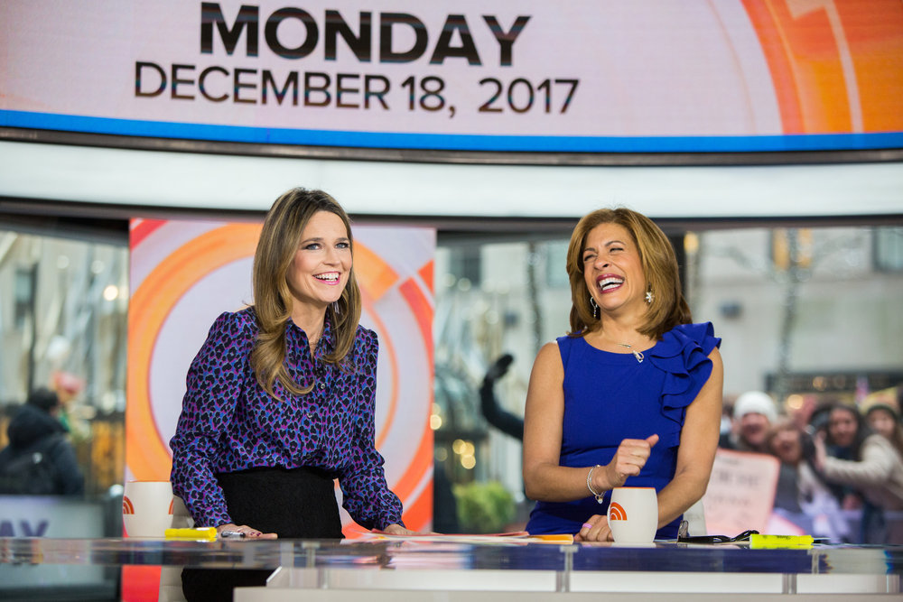 `Today`: Pictured, from left, are hosts Savannah Guthrie and Hoda Kotb. (NBC photo by Nathan Congleton)