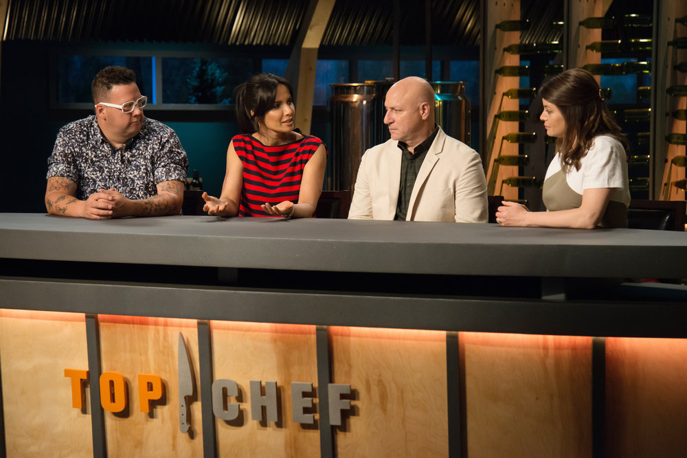 `Top Chef`: Pictured, from left, are Graham Elliot, Padma Lakshmi, Tom Colicchio and Gail Simmons. (Bravo photo by Paul Trantow)