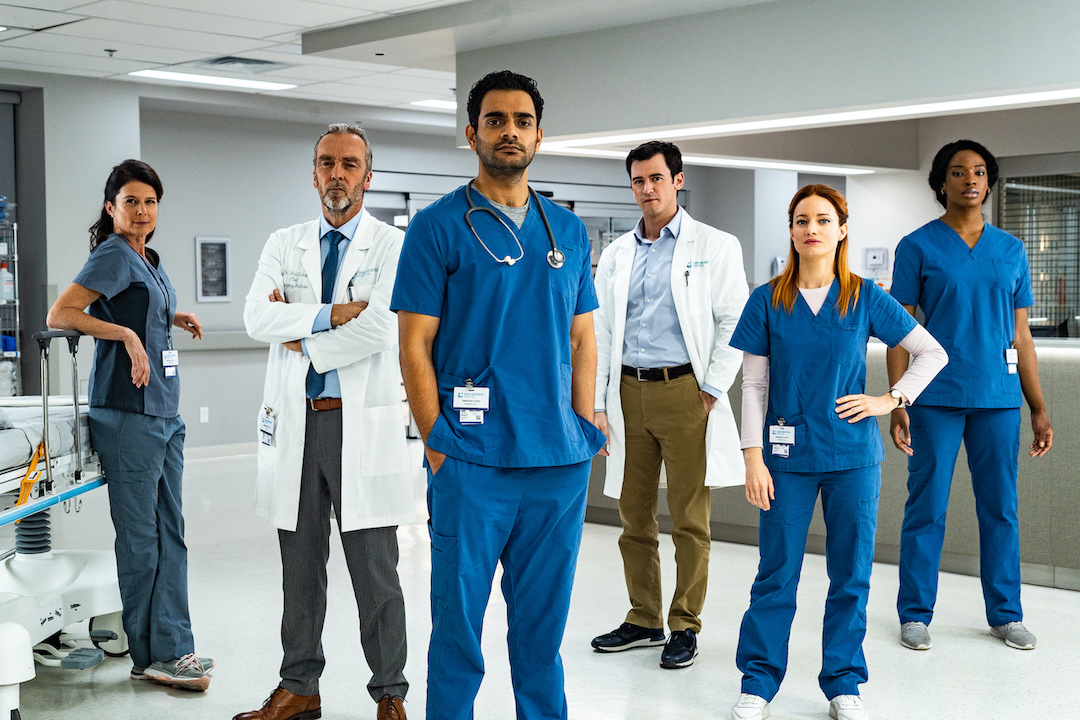 `Transplant`: season 1 - Pictured, from left: Torri Higginson as Claire Malone, John Hannah as Jed Bishop, Hamza Haq as Bashir Hamed, Jim Watson as Theo Hunter, Laurence Leboeuf as Magalie Leblanc, Ayiah Issa as June Curtis -- (Photo by Fabrice Gaetan/Sphere Media/NBC)