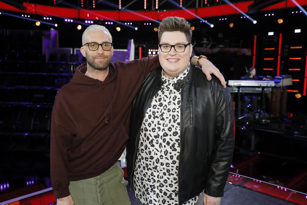 `The Voice`: Coach Adam Levine, left, is joined by adviser Jordan Smith. (NBC photo by Trae Patton)