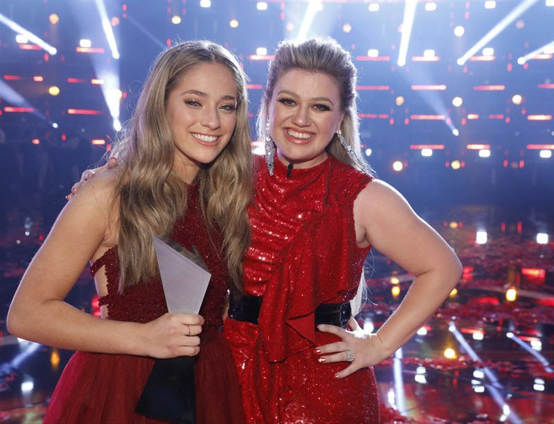 `The Voice` champion Brynn Cartelli, left, and her coach, Kelly Clarkson. (NBC photo)
