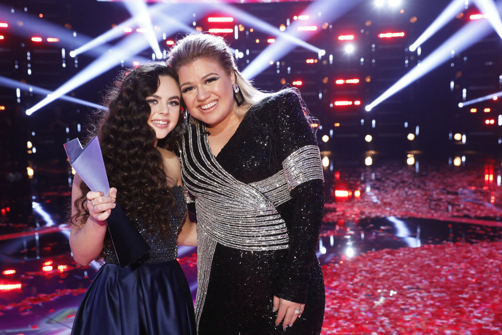 `The Voice` `Live Finale Results`: Chevel Shepherd is joined by her coach, Kelly Clarkson. (NBC photo by Trae Patton)