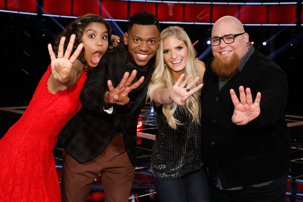 `The Voice`: Pictured, from left, are finalists Aliyah Moulden, Chris Blue, Lauren Duski and Jesse Larson. (NBC photo by Trae Patton)