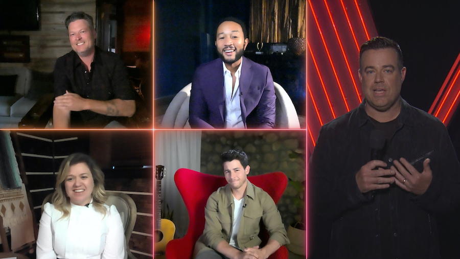 Pictured in this NBC screen grab are `The Voice` stars (top row, from left) Blake Shelton and John Legend; (bottom row, from left) Kelly Clarkson and Nick Jonas; and (right) Carson Daly.