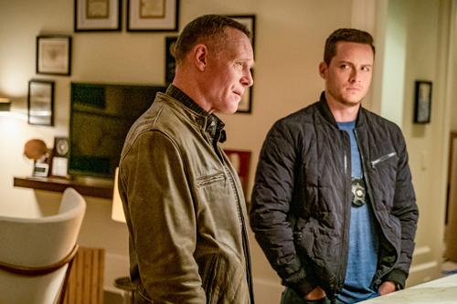 `Chicago P.D.` `Doubt`: Det. Jay Halstead (Jesse Lee Soffer) casts a suspicious eye on Sgt. Hank Voight (Jason Beghe). (NBC photo by Matt Dinerstein)