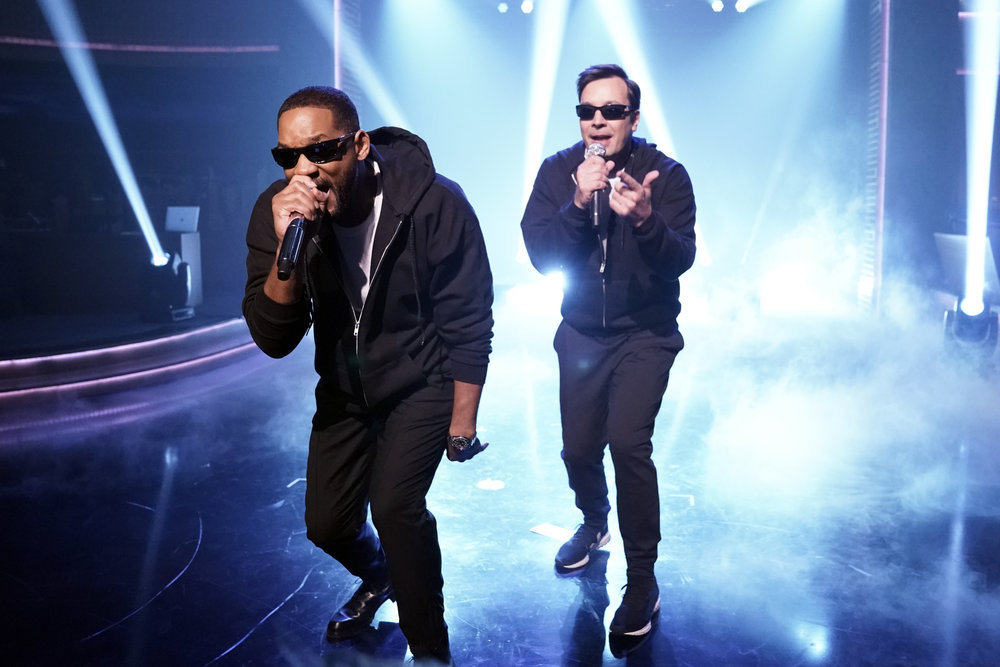Actor Will Smith raps with Jimmy Fallon during `Will Smith Raps Will Smith's Career` on `The Tonight Show Starring Jimmy Fallon.` (NBC photo by Andrew Lipovsky)