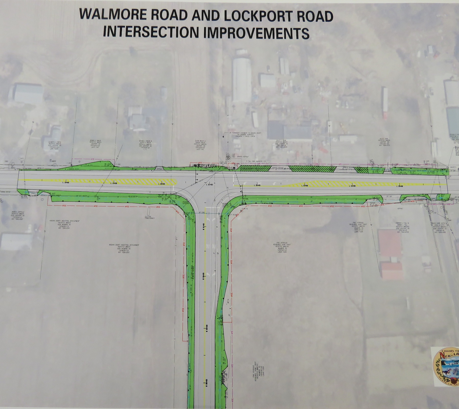 A map of the proposed turning lanes at Walmore and Lockport roads. (Photo by David Yarger)