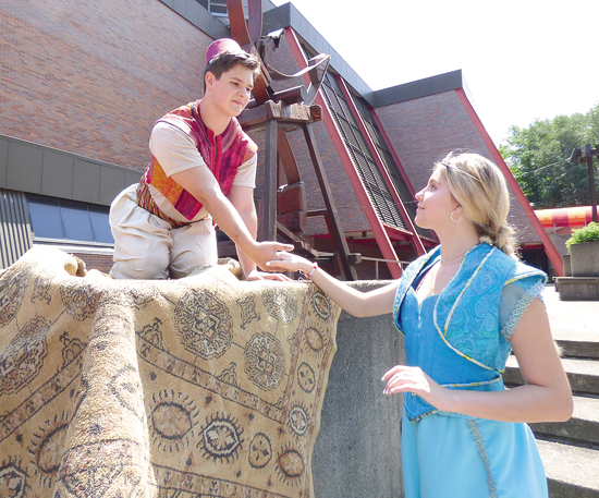 Aladdin (Cody McKenrick) will look to sweep Jasmine (Izzy Baker) off her feet at Artpark.