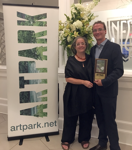 Robin Faulring and Michael Broderick were honored with the `Artpark Community Ambassador Award` at the Artpark & Company annual meeting.