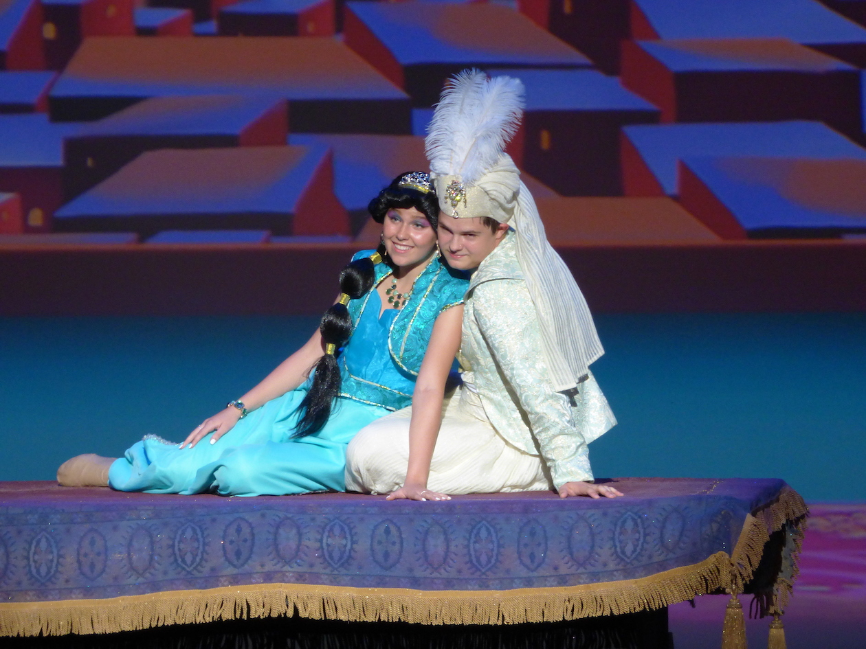 On stage at Artpark: Izzy Baker as Jasmine and Cody McKenrick as Aladdin.