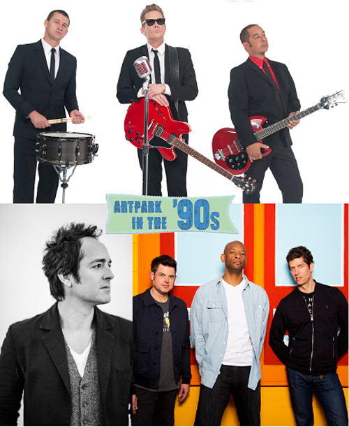 Clockwise: Sugar Ray, Better Than Ezra and Emerson Hart. The '90s stars will perform in Lewiston on July 9. (Photos courtesy of Artpark & Company)
