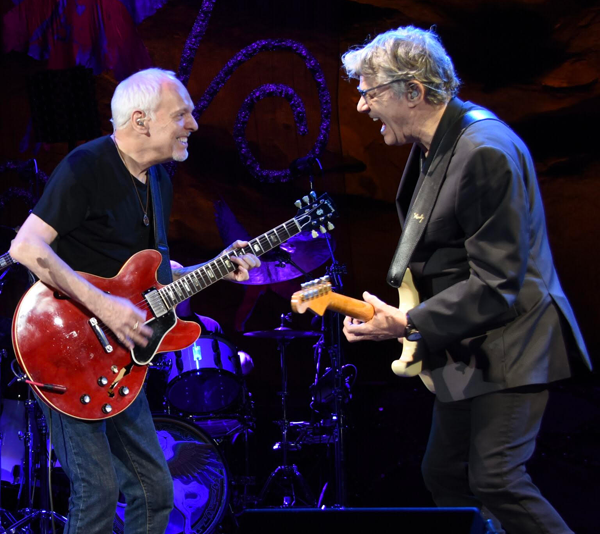 Peter Frampton, left, shares the stage with Steve Miller. The two will visit Lewiston this summer. High-end tickets are $77. (Photo courtesy of Artpark & Company).