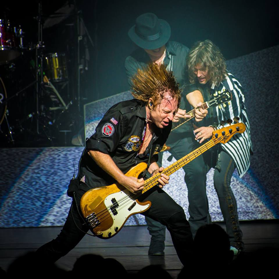Jeff Pilson on stage with Foreigner. (Image courtesy of band management)