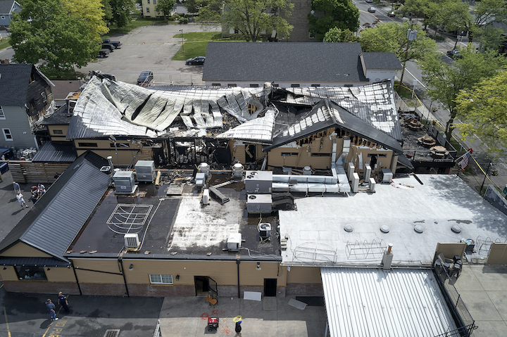 Pictured is an aerial view of the damage a fire left at the Brickyard family of restaurants. (Photos by Mark Williams Jr.)