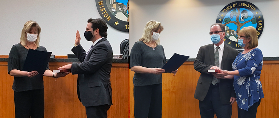 Monday's sessions saw oaths of office taken by newly appointed Town Attorney Al Bax, left, and Town Councilman Rob Morreale. (Photos by Terry Duffy)